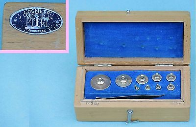 9 piece 1962 solid brass scale weight Set  CCCP Old Russian Soviet in Wood Box