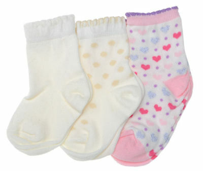 3 pairs of Cotton Baby Girls Socks Age 6-12 Months