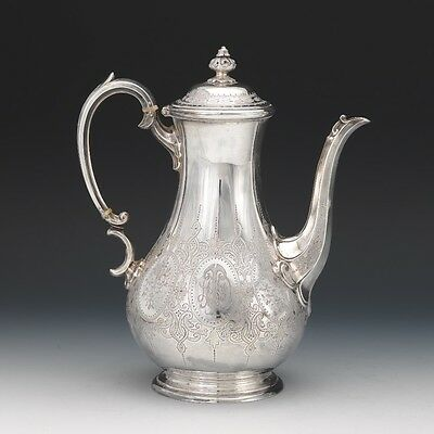 English Victorian Sterling Silver Coffee Pot  Martin, Hall & Co London date 1868