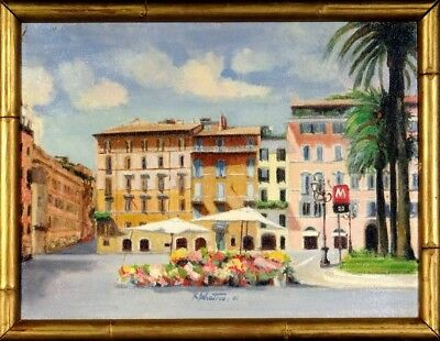 Superb ca.2001 Rome Street Scene Oil Painting on Canvas w/Frame Signed & Dated