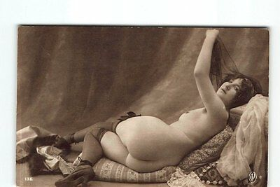 Bottoms up Sexy Nude Woman Erotic Nude Photo Postcard Stockings RPPC Curvey Butt