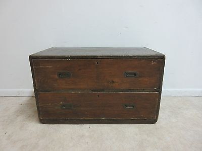 Antique Campaign Dove Tailed Military Storage Trunk Chest Cabinet