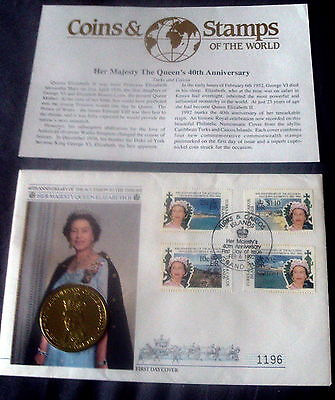 1992 TURKS & CAICOS 5 CROWNS COIN COVER, QE11 40th ANNIVERSARY OF ACCESSION.