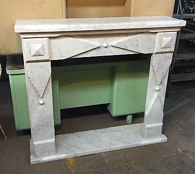 White marble mantel fireplace surround freestanding