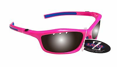 RayZor Uv400 Pink Vented Smoked Mirrored Lens Cricket Wrap Sunglasses RRP£49