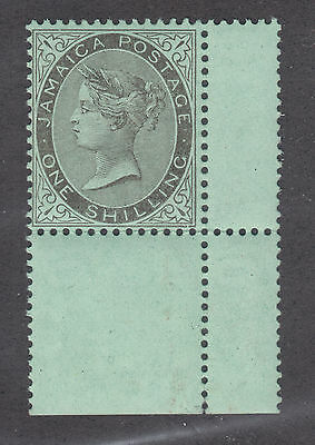 Jamaica Sc 43 MNH. 1910 1sh Queen Victoria, Interpanneau Selvage at right, XF