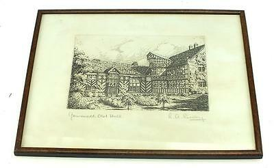 Black & White lithograph Print Signed Gawsworth Old Hall Frame Picture C1950