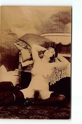 UNUSUAL GRAPHIC Very Risque Nude Woman Erotic Photo Postcard Lingerie Stocking