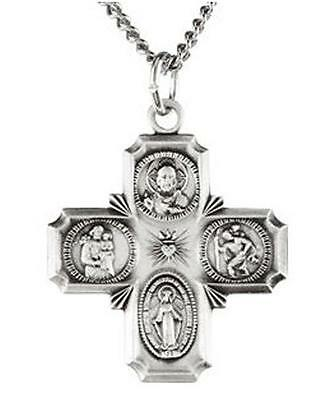 "Sterling Silver .925 Four Way Catholic Scapular Medal 7/8"" Pendant Cross w Chain"