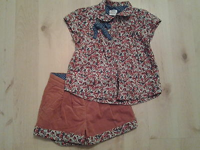 Girls Mamas and Papas blouse and shorts age 2-3