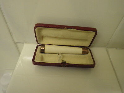 Vintage 9ct Hallmarked Rose Gold Tipped Cigarette Holder In Leather  Box