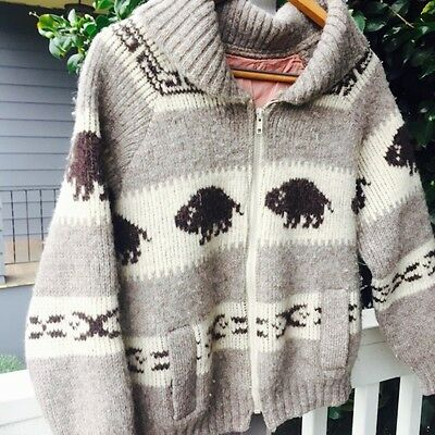 BUFFALOS COWICHAN Vintage Zippered Hand Knit Wool Sweater Youth