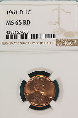 1961-D NGC MS65 RED Lincoln Wheat Cent!! #A7541