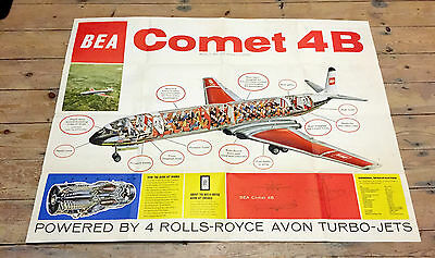 British European Airways Comet 4B Cutaway Poster Brochure Bea B.e.a.de Havilland