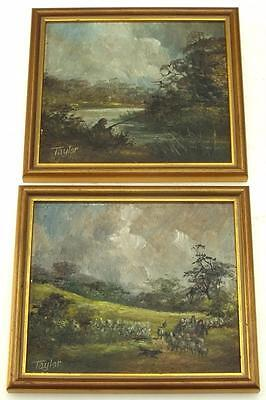 19thC Farmyard oil on Board Painting - Fishingman on River Picture - By Taylor