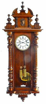 Superb Quality Antique 8Day Viennese Carved Mahogany Vienna Regulator Wall Clock