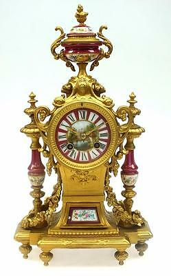 Amazing Antique French Red Sevres Spelter Ormolu 8Day Bell Striking Mantel Clock