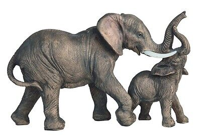 7.5 Inch Gray Elephant w/ Baby Nature Wildlife Animal Statue Collectible Wild