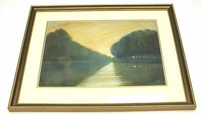 Oil On Board Sunrise over River Painting - Picture Landscape - Boating on River