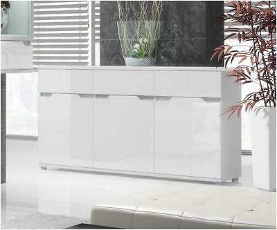 City Living High Gloss Contemporary White Large Or Compact Sideboard