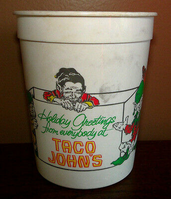 Vintage Taco John's Plastic Drinking Glass Cup Holiday Christmas Winter Elves