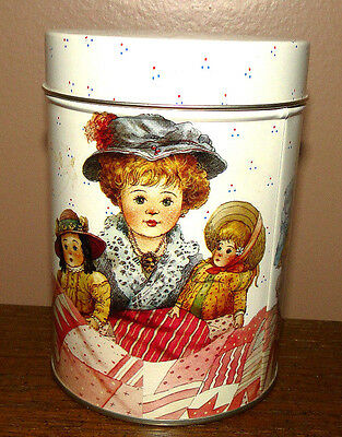Canister Round Tin Box Company Vtg Girl With Dolls Under Quilt