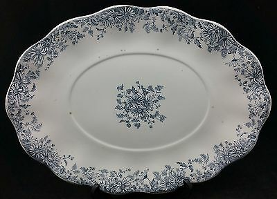 """Victorian Blue & White Serving Platter/ Meat Plate 14"""" × 10 1/2"""" by Furnivals"""