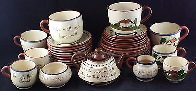 Extensive Collection of Vintage  Devon /Torquay Motto Ware Inc Teapot, Cups, etc