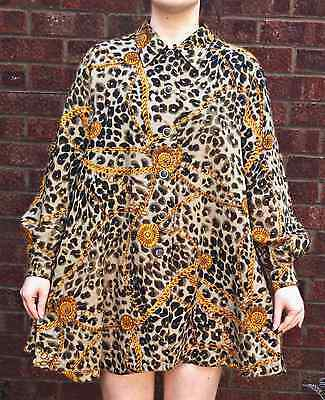 VINTAGE Oversized Leopard Chain Wool Alexa 90s 80s Grunge Indie Granny Dress Top