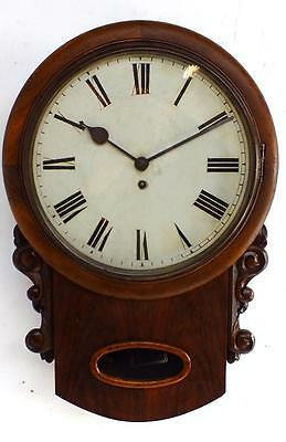 Superb Antique Single Fusee Mahogany Drop Dial Wall Clock W&H Fusee Movement