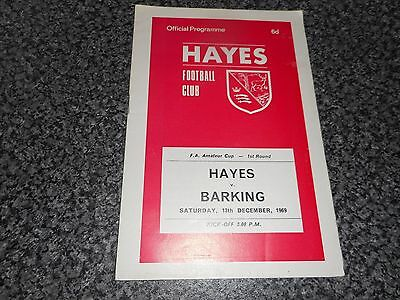 HAYES  v  BARKING  1969/70 F.A.AMATEUR CUP 1st ROUND ~ DECEMBER 13th *FREE POST*