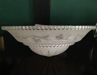 Vintage Art Deco Frosted Etched Glass Ceiling Light Shade