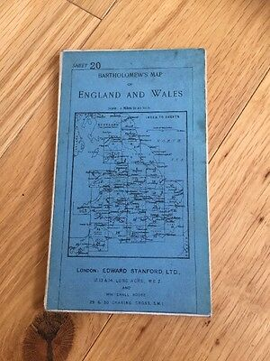 Bartholomews Cloth Map England & Wales Edward Stanford Ltd Maps Very Good