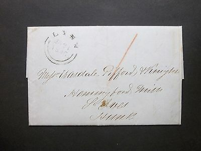GB Norfolk 1845 1d prepaid red m/s Entire Letter LYNN cds to St Ives Hunts