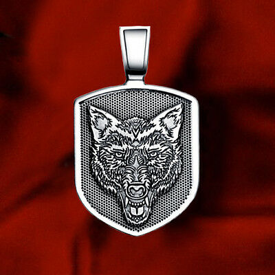 Wolf Head Shield Solid 925 Sterling Silver Pendant Protection Talisman Necklace