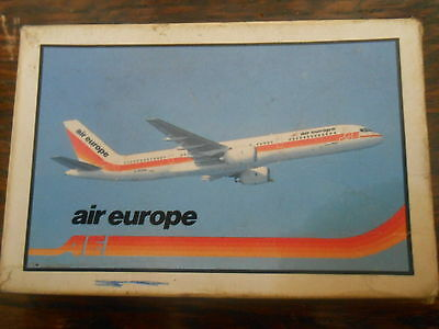 Vintage Playing Cards. `air Europe` Picture Of Airplane On Box And Cards.