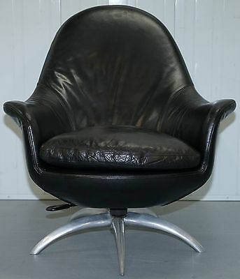 Signed Hugo Sestie 1977 Black Leather Contemporary Egg Chair Rare Original Find