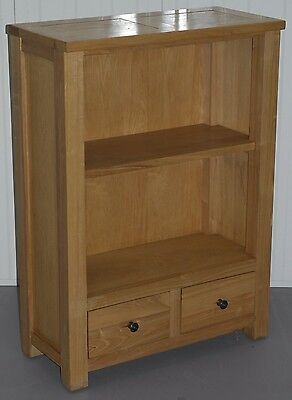 Rrp £335 Halo Living Plum Solid Ash Wood Dwarf Bookcase With Two Drawers