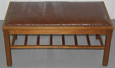 Stunning 19Th Century Aged Brown Leather Solid Oak Copper Studs Bench Footstool