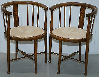 Pair Of Edwardian Spindle Barrel Back Walnut Captains Chairs Satin Wood Inlay