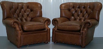 Pair Of Ralph Lauren Writer's Armchairs Aged Brown Vintage Hide Cattle Leather