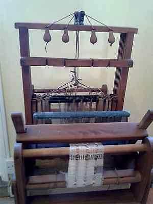 """Small vintage  4 shafts Maxwell wooden tabletop weaving loom 15.5"""" - Xmas gift?"""