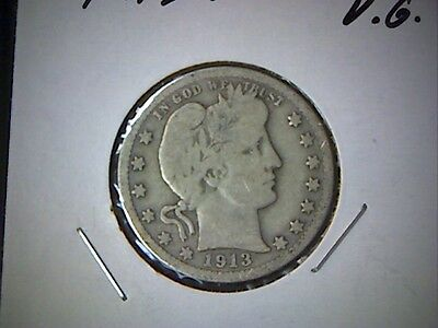 1913-P Barber Quarter Dollar Coin, United States Silver Quarter Coin, Old