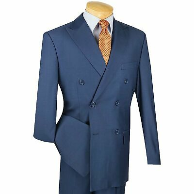 Men's Blue Double Breasted 6 Button Classic-Fit Suit NEW