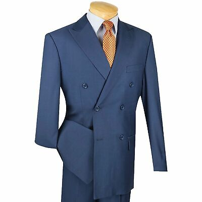 Vinci Men's Blue Double Breasted 6 Button Classic-Fit Suit NEW
