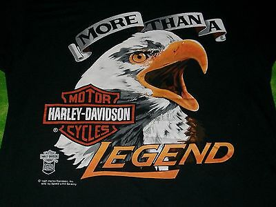 VINTAGE 1987 Harley Davidson MORE THAN A LEGEND Eagle Head T-Shirt SOFT AND THIN