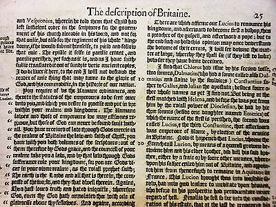 'The description of Britaine'. Single leaf from Holinshed's Chronicles, 1587.