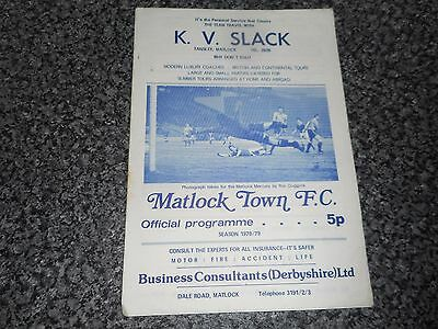 MATLOCK TOWN ( DERBY SHIRE )  v  WORKSOP TOWN ( NOTTINGHAM SHIRE ) 1978/9