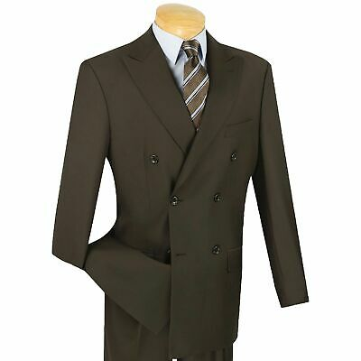 VINCI Men's Brown Double Breasted 6 Button Classic Fit Suit NEW