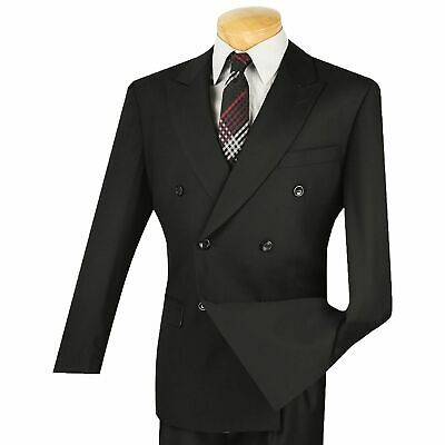 Vinci Men's Black Double Breasted 6 Button Classic-Fit Suit NEW